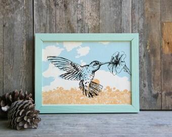 Hummingbird Wall Art, Modern Style Poster, Hummingbird Print, Printable Wall Decor, Bird Decor, Rustic Wall Hanging, Gift Under 10