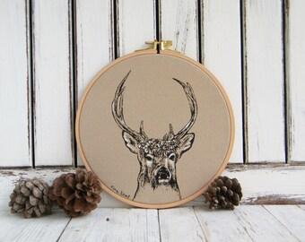 Kids Hoop Art, Deer Print, Deer Head Decor, Canvas wall art, Kids Room Decor, Nursery Decor, Woodland Nursery, Woodland Animals, Stag Print