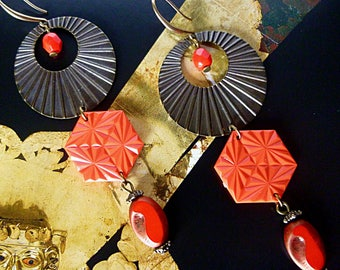 "Bohemian earrings ""Ayuma"", metal filigree bronze, vintage red connector, Czech red glass"