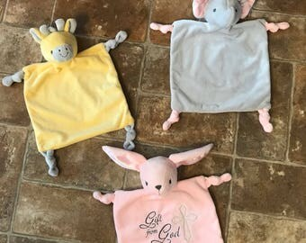 Lovey-Security Blanket-Rattle-Baby Shower Gift-New Baby Gift-Easter Gift-Custom-Personalized-Embroidered-Lovie