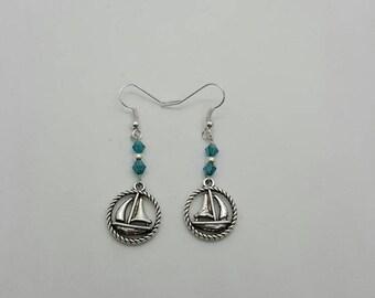 Nautical sailboat earrings  (ER087)