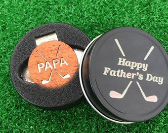 """Fathers Day """"PAPA"""" MAHOGANY Wood golf ball marker hat clip with OPTIONAL tin"""