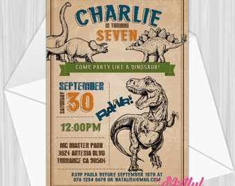 Printable Dinosaur Party Invitation | Personalized