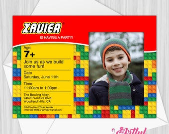 Printable Building Blocks Party Invitation With Photo | Personalized