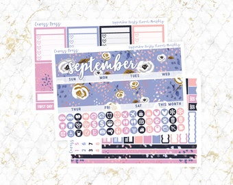 September Dusty Floral Monthly View Kit | 100+ Stickers