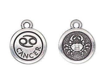 Cancer Charm, Antiqued Silver, Astrological Charm, Zodiac Charm, Pendant, 15mm, 1 Each, D1064