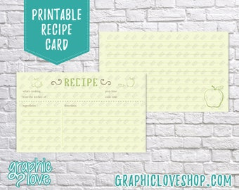 Printable Green Apple 3x5 Double Sided Recipe Card   Food, Wedding Shower, Pinterest   Digital JPG Files, Instant Dowload, File NOT Editable
