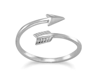 Aim High Arrow Wrap Around Ring Rhodium plated sterling silver