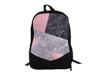 Marble Geo Backpack Fullprint Concrete Stone Mamoreal Geometric Triangles Pink Gray Black