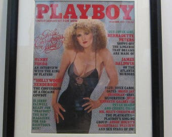 Vintage Playboy Magazine Cover Matted Framed : December 1981 - Bernadette Peters