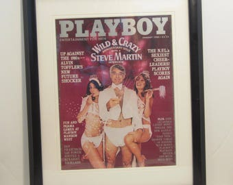 Vintage Playboy Magazine Cover Matted Framed : January 1980 - Amy Miller, Steve Martin, Michele Drake