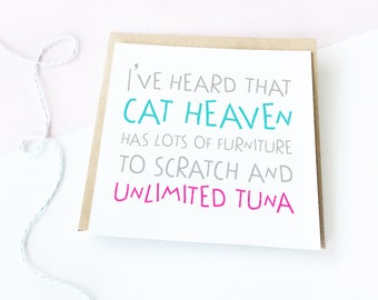 Cat Heaven Card, Loss of a Pet card, Thinking Of You Card, Sorry Card, Sad News card, Sympathy Card, Reassurance Card