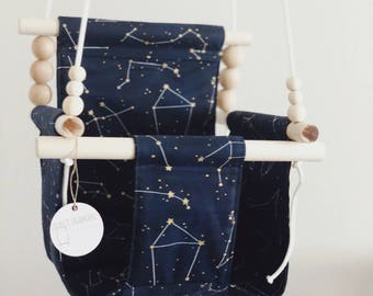 Outdoor swing, Baby swing, indoor swing, constellations, space theme nursery, wooden swing, toddler swing, baby shower gift, baby gift