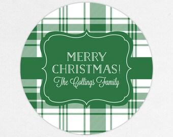 24 HOUR DIGITAL FILE, Christmas Gift Labels, Holiday Gift Stickers, Holiday Gift Tags, Christmas Gift Tags, Plaid Stickers, Green Plaid Tag