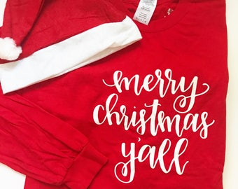 Merry Christmas Y'all Hand Lettered Christmas T-Shirt Holiday Sweater