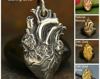 Sterling Silver Anatomical Heart Charm, Love Charm, Love Pendant, Silver Heart Charm, Silver Heart Pendant, Heart Jewelry, Real Heart Charm
