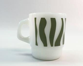 Vintage Green Zebra Stripes Milk Glass Mug Anchor Hocking Fire King