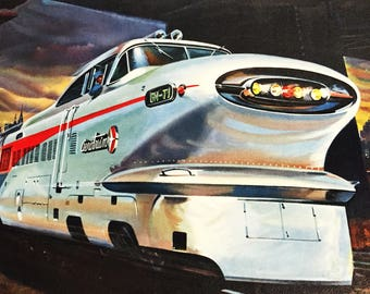 Vintage Art Print Aerotrain Space-Age Commuter Train