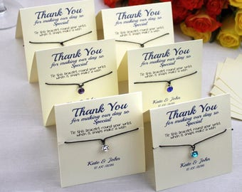 Personalised Luxury Wedding Favour Guest Gift - Friendship Bracelet Favour Card