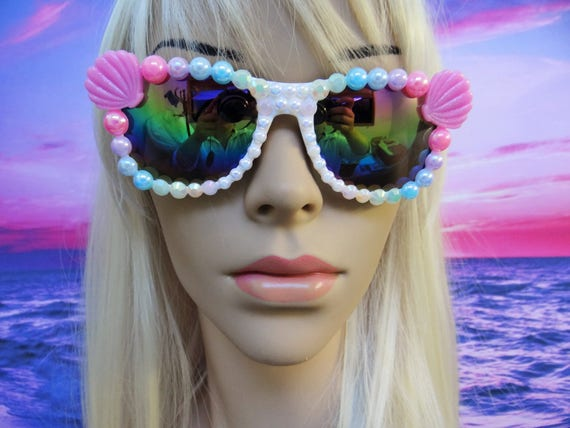 SECONDS Rainbow I'm Really A MERMAID Sunglasses Sun Glasses Sunnies Wayfarers Ariel Disney Mirrored My Little Pony Mirror The Little A011