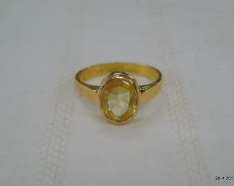 vintage 18kt gold ring citrine gemstone ring handmade gold jewelry