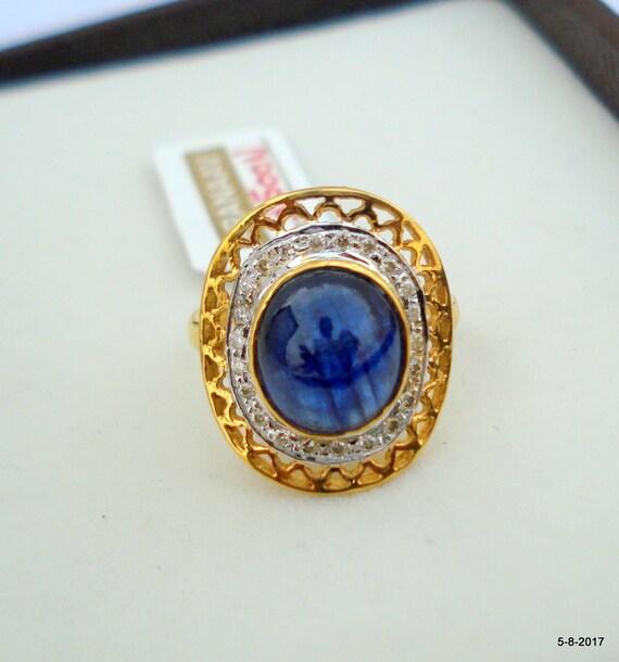 Gold Ring Diamond Ring Blue Sapphire Gemstone Ring Handmade
