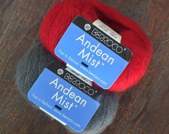 Berroco ANDEAN MIST Alpaca Silk DK Yarn Red 6355, Gray 6370 - 164 Yds - 7.25 +.99ea Shipping - Free Shawl & Hat Patterns. List Price 8.00