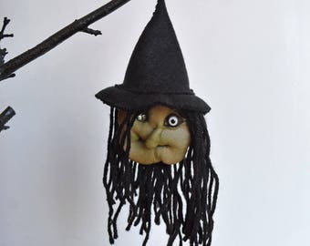 Weird Sisters Wicked Witch #1 - Handmade Halloween Decoration, Hanging Ornament