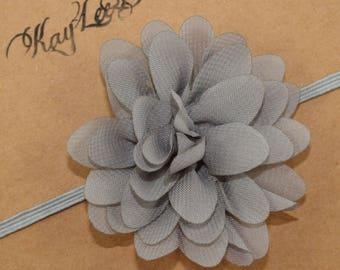 Gray Flower Headband, Gray Headbands, Flower Headbands, Gray Flower Girl Headband, Newborn Headbands, Baby Girl Headbands