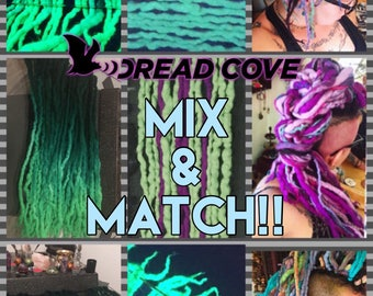 """One Double Ended Wool Dreadlock MIX & Match! (Total length approx 18""""-25"""" inches long) 