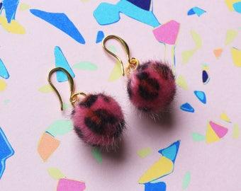 Pink Leopard Mini Pom Pom Earrings | Kawaii Fluffy Funky Ball Earrings