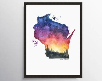 Wisconsin map, Map poster Watercolor Painting, Illustration art, Map art, Map gift, State Print, Map print, Long distance art, State map art