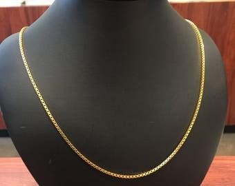 18K Yellow Gold Vintage 61cm Box Chain