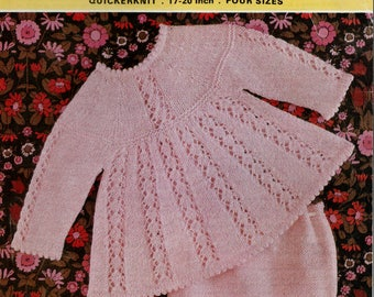 Original Vintage Knitting Pattern Emu 8541 Baby Clothes, Baby Lacey Angel Top & Knickers in Quickerknit  4 Sizes for Chest 17 to 20''