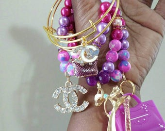 Designer Inspired Purple, Pink mixed. Beaded charm bracelet & bangle set, Valentine's gifts, birthday gifts, anniversary gifts