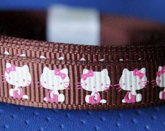 1 M 30 EMBELLISHMENT Ribbon print kitty fine grain SCRAPBOOKING