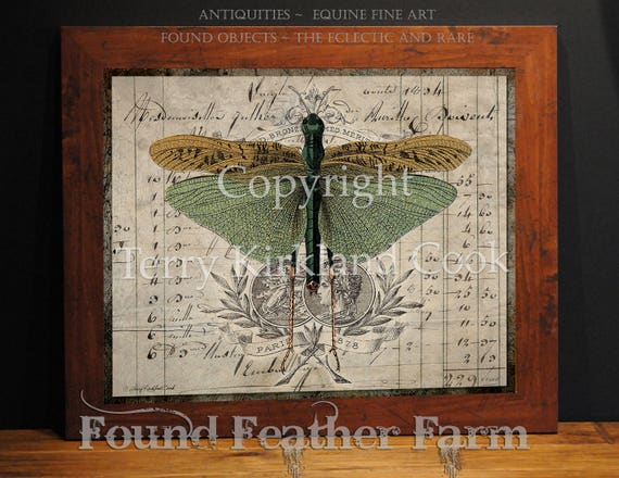 "The Grasshopper ~  Original Vintage Art Collage 20"" x 24""Framed Giclee Print"