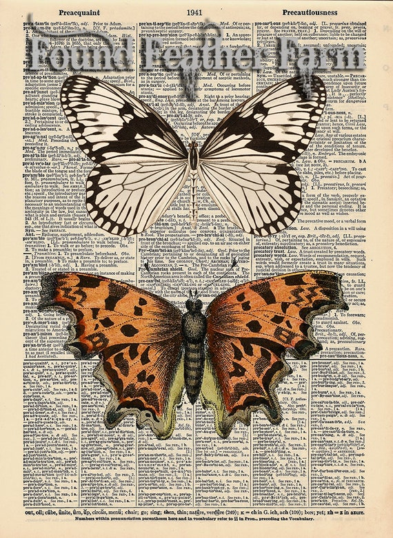 "Vintage Antique Dictionary Page with Antique Print ""Two Butterflies"""