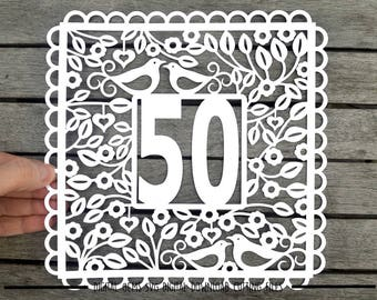 Number 50 paper cut svg / dxf / eps / files and pdf / png printable templates for hand cutting. Digital download. Small commercial use ok.