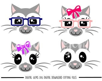 Cat faces svg / dxf / eps / png files. Digital download. Compatible with Cricut and Silhouette machines. Small commercial use ok.