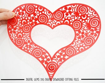 Zentangle Heart paper cut svg / dxf / eps / files and pdf / png printable templates for hand cutting. Digital download. Commercial use ok