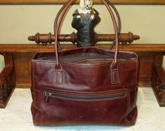 Spring Sale Fossil Tote Carryall Shoulder Bag In Whiskey Brown Leather With Laptop Sleeve- VGC