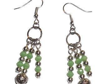 August Birthstone Faceted Green Peridot & Silver Hand Crafted Dangle Earrings