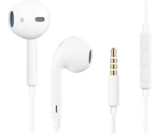 Quality Headphones Earphones Earbuds with Mic & Remote Control, Compatible with iPhone/iPad /iPod 4PACK -White by Ciella