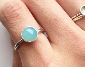 BLUE CHALCEDONY RING - Sterling Silver Blue 8mm Gemstone Ring  - Solitaire Faceted Bezel Set Large Stackable Ring