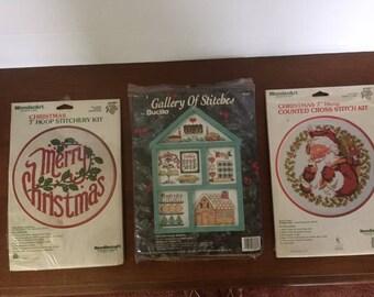 Vintage Christmas Cross Stitch Kits - set of 5