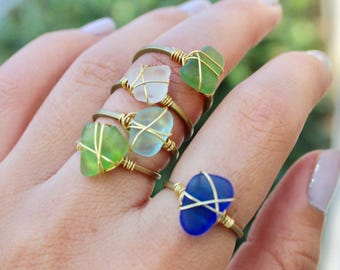 Brass Wire Wrapped Sea Glass Rings, Genuine Sea Glass Rings, Sea Glass Jewelry