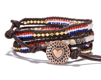 4MM Agate Beaded Wrap Bracelet Gemstone Leather Wrap Bracelet Leather And Gemstone Wrap Bracelet Triple Wrap Bracelet Boho Beaded Bracelet
