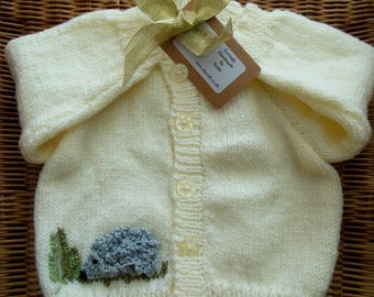 Hand Knitted Baby Cardigan / Sweater with a Crochet Hedgehog Applique Personalised Custom Initial Cream & Grey Boys Gift Size 6 - 9 months