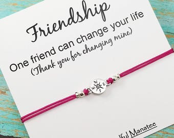 Best Friend Bracelet, Friendship Gift, BFF Bracelet, Gift for Friend, Compass Bracelet, Gift for Him or Her, Friendship Bracelet